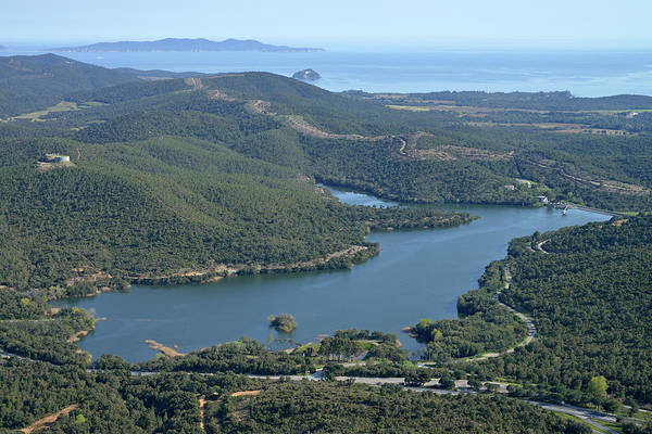 Mimosas Photograph - Aerial View Of An Artificial Lake by Sami Sarkis