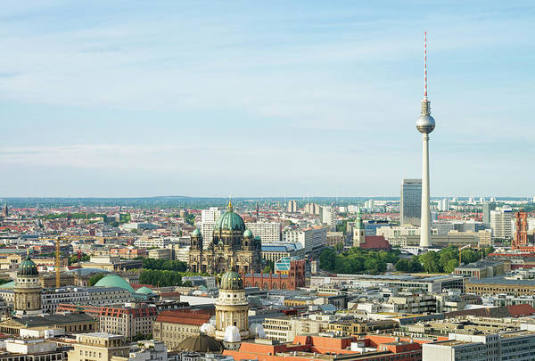 Berlin Cathedral Photograph - Aerial View Of Berlin Cityscape by Georgeclerk