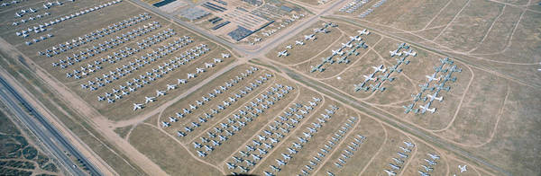 Airbase Photograph - Aerial View Of Bone Yard, F4 Fighter by Panoramic Images