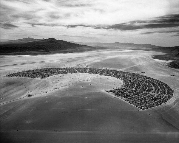 Wall Art - Photograph - Aerial View Of Burning Man Festival by Michael Okimoto