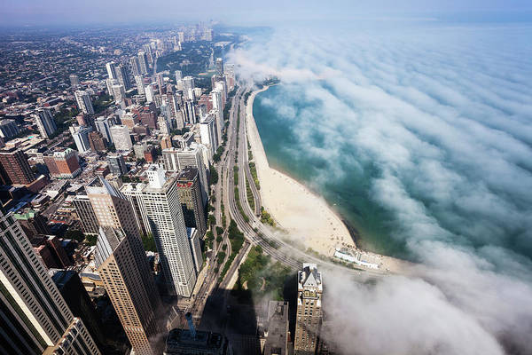 Lakeshore Photograph - Aerial View Of Chicago Lakeshore With by Stevegeer