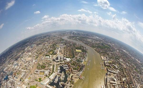 Canary Wharf Photograph - Aerial View Of City, London, England, Uk by Mattscutt