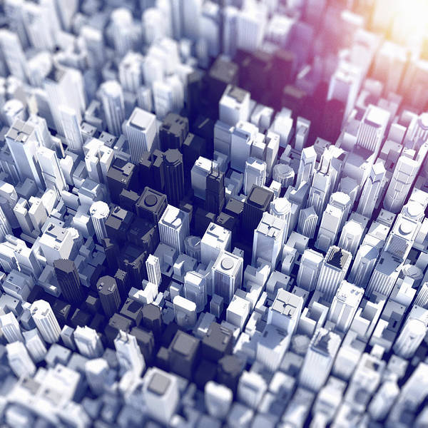 Exterior Digital Art - Aerial View Of City Skyscrapers Forming by Magictorch