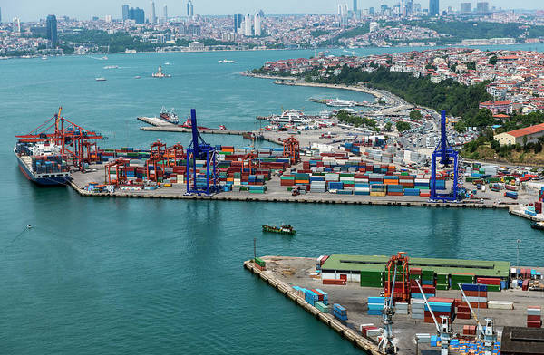 Freight Transport Wall Art - Photograph - Aerial View Of Container Port And Ship by Omersukrugoksu