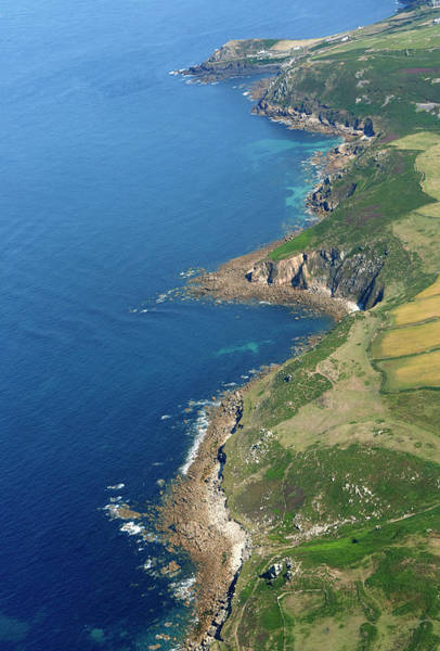 St Ives Photograph - Aerial View Of Cornish Coastline by Allan Baxter