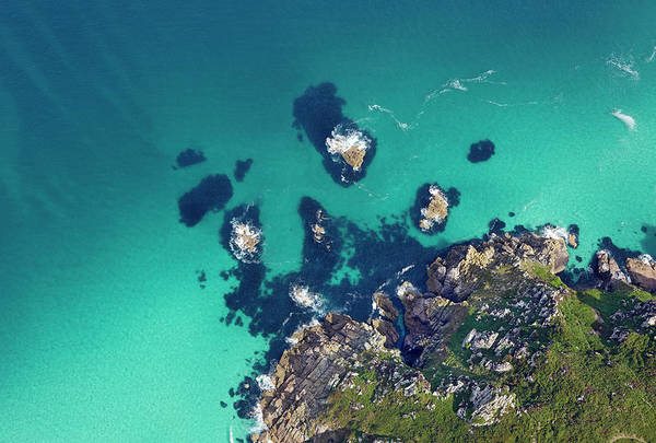 St Ives Photograph - Aerial View Of Cornish Shoreline by Allan Baxter