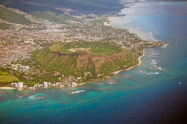 Photograph - Aerial View Of Diamond Head Crater by Dan McManus