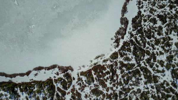 Ossipee Wall Art - Photograph - Aerial View Of Frozen Pond by Joe Klementovich