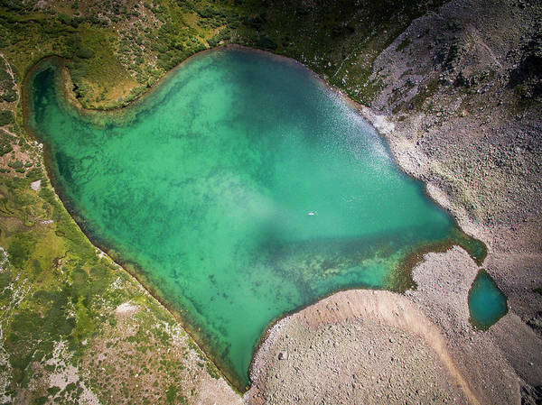 Peachy Wall Art - Photograph - Aerial View Of Green Alpine Lake by Brandon Huttenlocher