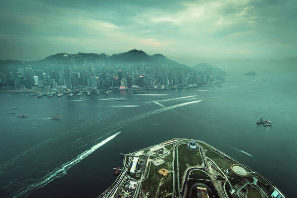 Kowloon Photograph - Aerial View Of Hazy Cityscape Along by D3sign