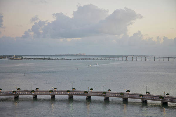 Biscayne Wall Art - Photograph - Aerial View Of Highways Over Water At by Barry Winiker