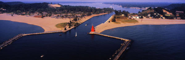 Big Red Photograph - Aerial View Of Holland Harbor by Panoramic Images