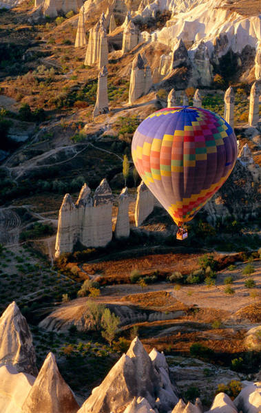 Nevsehir Photograph - Aerial View Of Hot-air Balloon Floating by John Elk