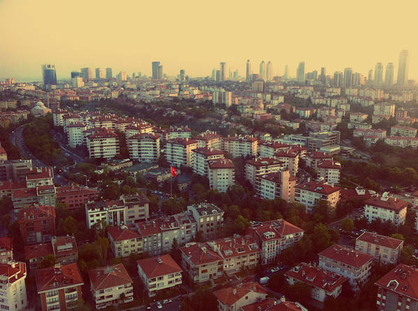 Galata Photograph - Aerial View Of Houses And Skyscrapers by Burakpekakcan