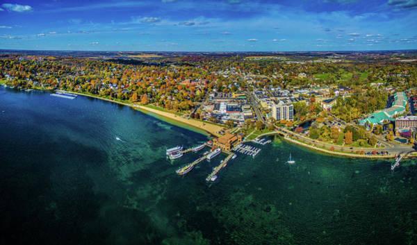 Lake Geneva Photograph - Aerial View Of Lake Geneva, Walworth by Panoramic Images