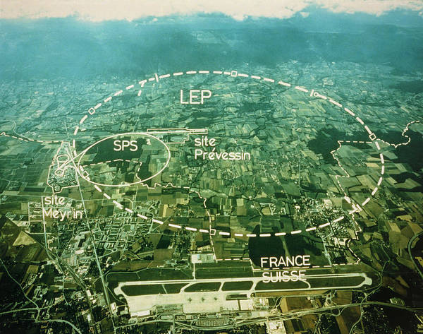 Particle Accelerator Wall Art - Photograph - Aerial View Of Lep Collider by Cern/science Photo Library