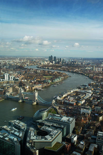 Canary Wharf Photograph - Aerial View Of London Looking Towards by Peter Kindersley