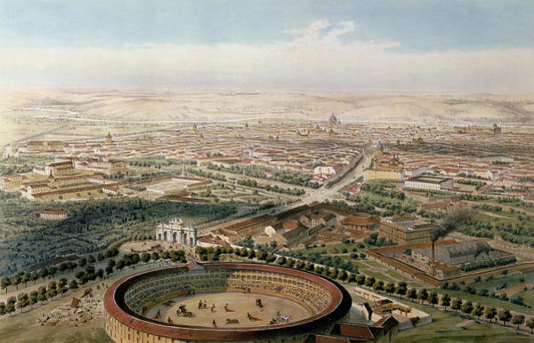 Toro Wall Art - Painting - Aerial View Of Madrid From The Plaza De Toros by Alfred Guesdon