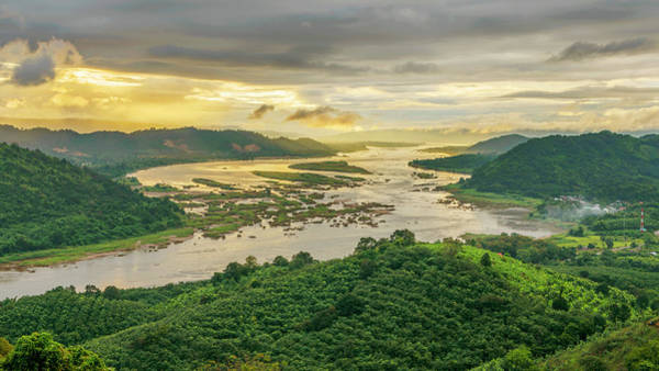 Thailand Photograph - Aerial View Of Mekong River And Forest by Jakkreethampitakkull