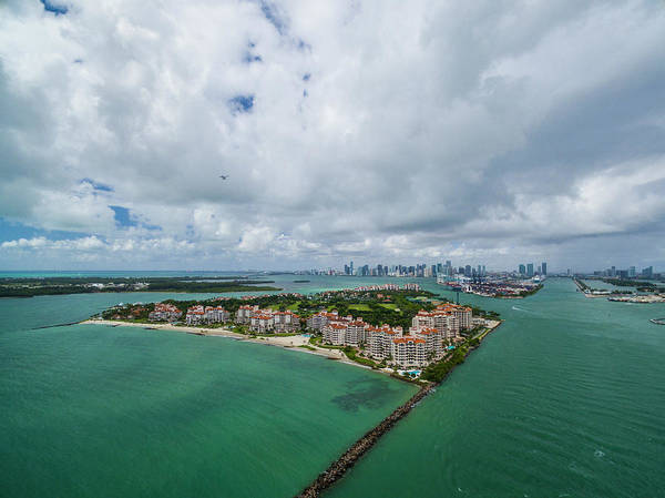Fisher Island Photograph - Aerial View Of Miami City by Evgeny Vasenev