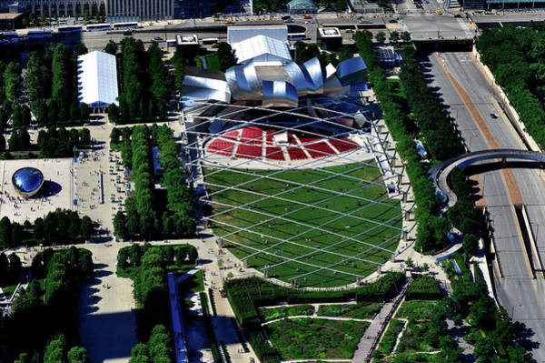 Crisscross Wall Art - Photograph - Aerial View Of Millennium Park by Panoramic Images