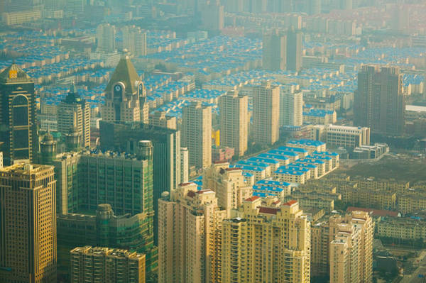 Housing Development Photograph - Aerial View Of New Pudong District by Panoramic Images