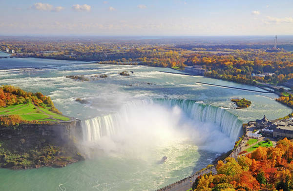 The Maid Photograph - Aerial View Of Niagara Falls In Autumn by Orchidpoet