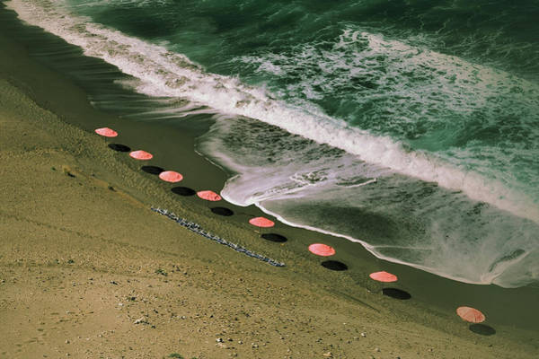 Parasol Photograph - Aerial View Of Parasols On Beach With by Jeren (france)
