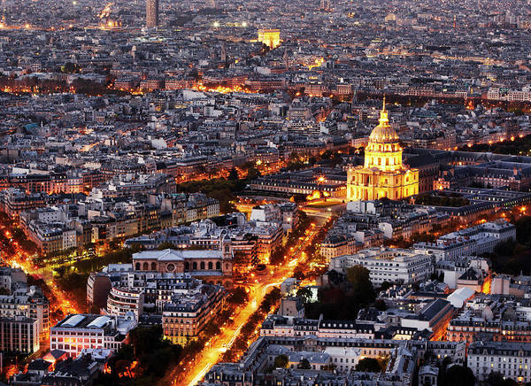 Invalides Photograph - Aerial View Of Paris At Night by Allan Baxter