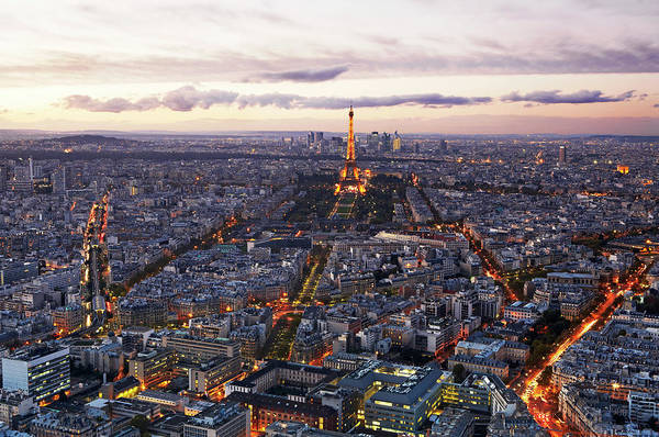 Paris Rooftop Photograph - Aerial View Of Paris At Twilight by Allan Baxter