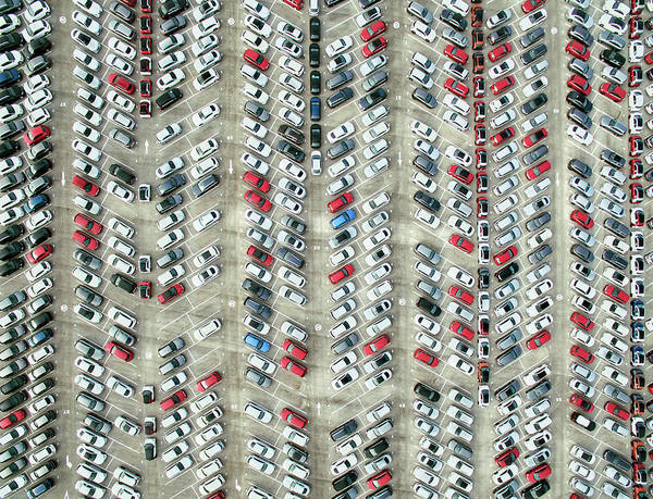 Freight Transport Wall Art - Photograph - Aerial View Of Parked Cars by Orbon Alija