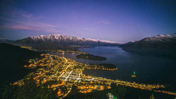Aerial View Of Queenstown Cityscape At Night, New Zealand Art Print by Lingxiao Xie