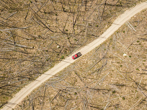 Wall Art - Photograph - Aerial View Of Red Pickup Truck Driving by Matt Andrew