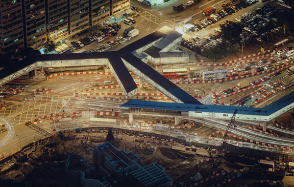 Parking Structure Photograph - Aerial View Of Roadworks In City by D3sign