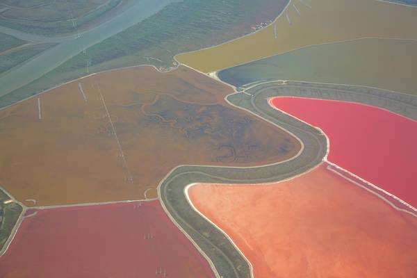 Salt Pond Photograph - Aerial View Of Salt Ponds by Neil Beckerman
