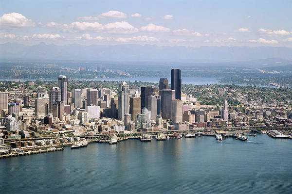 King Harbor Photograph - Aerial View Of Seattle by King Wu