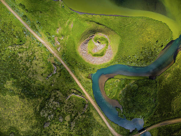 Ir Photograph - Aerial View Of Skutustadagigar by Panoramic Images