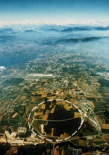 Proton Photograph - Aerial View Of Sps Accelerator by Cern/science Photo Library