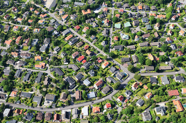 Suburbs Photograph - Aerial View Of Suburb by Johner Images