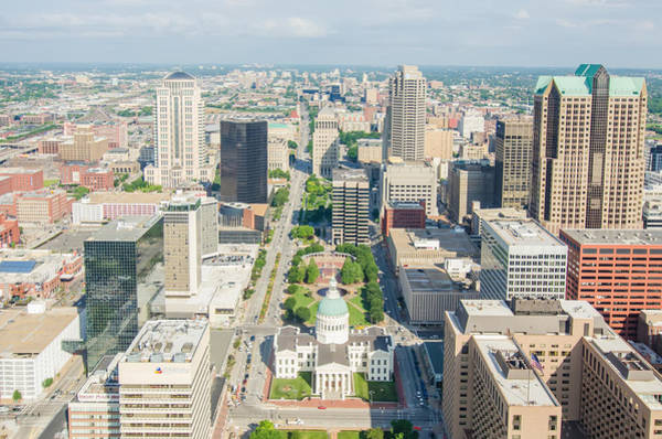 Photograph - Aerial View Of The City Of Saint Louis Missouri As Seen From Th by Alex Grichenko