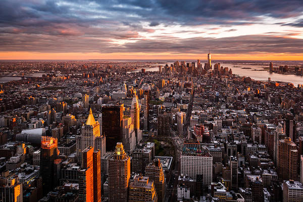Photograph - Aerial View Of The Manhattan Skyline At Sunset by Mihai Andritoiu