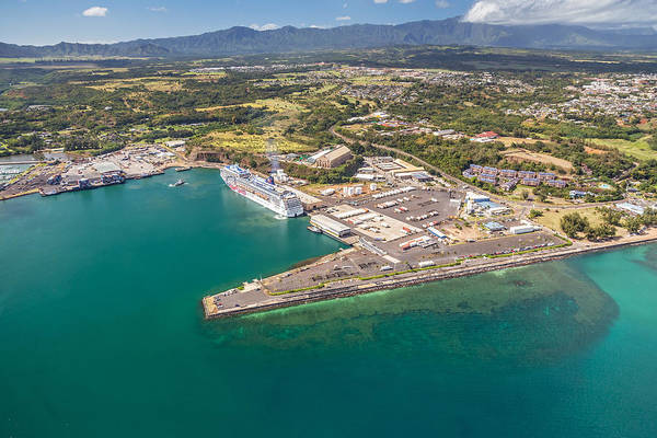 Photograph - Aerial View Of The Nawiliwili Harbor by Pierre Leclerc Photography
