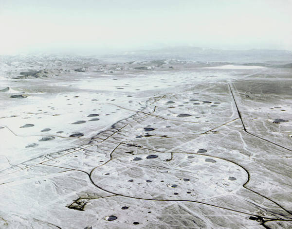 Nuclear Bomb Wall Art - Photograph - Aerial View Of The Nevada Atomic Bomb Test Site by Us Department Of Energy/science Photo Library
