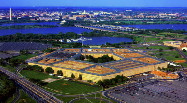 Arlington County Photograph - Aerial View Of The Pentagon At Dusk by Panoramic Images