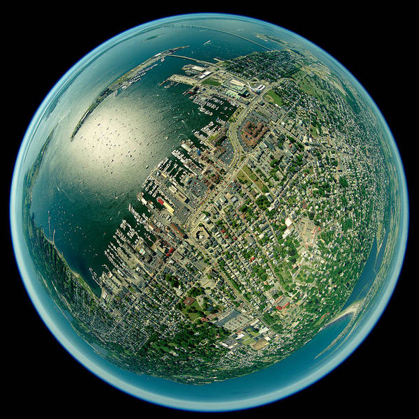 Fish Eye Lens Photograph - Aerial View Of The Rhode Island, Usa by Panoramic Images