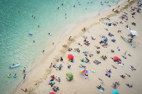 Nature Photograph - Aerial View Of Tourists On Beach by Alberto Guglielmi