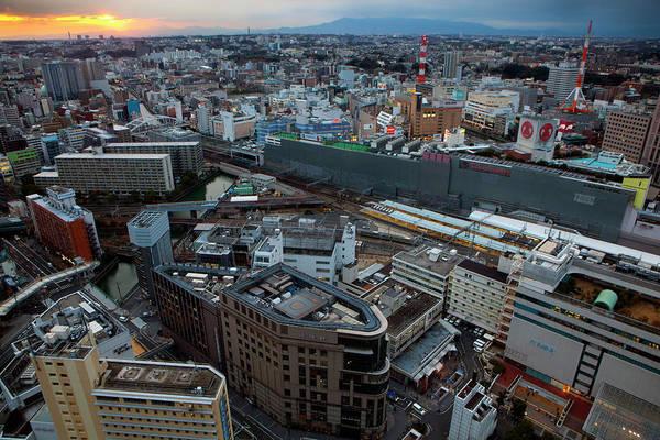 Kanagawa Wall Art - Photograph - Aerial View Of Yokohama At Dusk by Digipub
