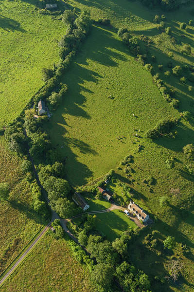 Livestock Photograph - Aerial View Over Farmhouse Livestock by Fotovoyager