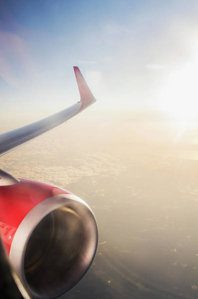 Wing Back Photograph - Aerial View With Plane Wing by Johner Images