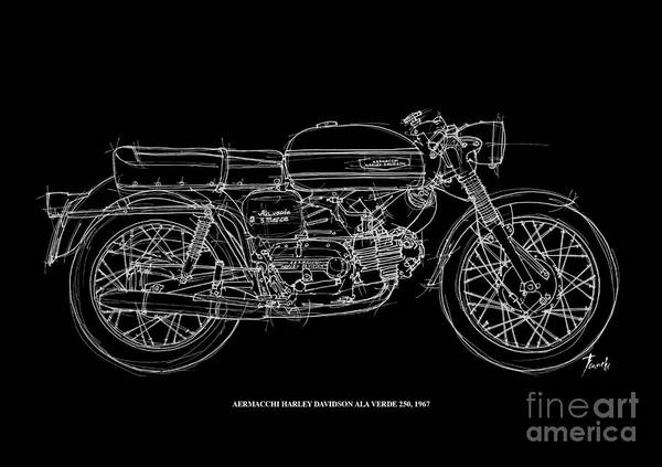 Line Drawing Painting - Aermacchi Harley Davidson Ala Verde 250 -1967 by Drawspots Illustrations